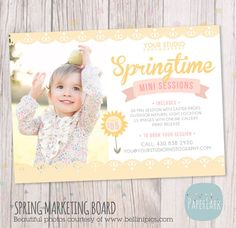 Spring Mini Session Marketing Board  Photoshop by PaperLarkDesigns, $8.00 #spring #minisession #photography #marketingboards #springtime #flower #paperlarkdesigns