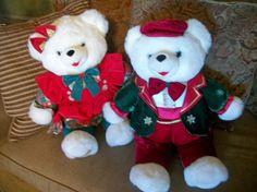 "Snowflake Teddy Bear Pair 22"" White Stuffed Plush Christmas 1997-98 Tb Trading  #tbtradingco"