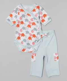 Another great find on #zulily! Red Elephant Organic Kimono Bodysuit & Pants - Infant #zulilyfinds