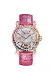 Chopard Watch Happy Sport Medium Automatic 18k rose gold, colored stones and diamonds