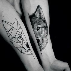 Wolf tattoo geometric vs realism