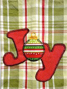 Christmas Tea Towel Christmas Ornament Applique by RkyMtnCrafts
