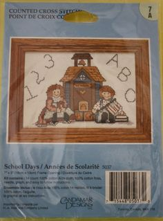 School Days Counted Cross Stitch Kit/  NIP /Size 7 x5/ Embroidery Kit /Candamar Designs by BluetreeSewingStudio on Etsy