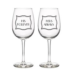 """Stripes Galore - Wine Glasses Stripes Galore - Wine Glasses Item Number ZBK40441 The large bowls of these wine glasses hold 13.4 ounces and features one glass with """"His Forever"""" and the other with """"Hers Always"""" black silk screened designs."""