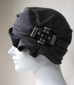 Charcoal Gray Pin Stripe Flapper Cloche by BaroqueAndRoll on Etsy, $58.00
