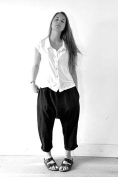 chemise manches courtes en jersey blanc - VDJ (NEW), saroual classique en lin noir - VDJ