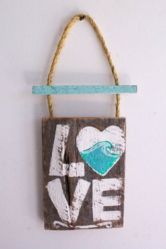 Ocean Wave Love Beach Sign on Reclaimed Distressed Wood Beach Art Surf Shop Wood Sign Coastal Beach Surf Baby Nursery Beach Themed Kids Room on Etsy, $35.00