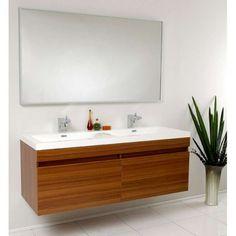 Double Sink for kids - Fresca Largo Teak Wavy Double Sink Modern Bathroom Vanity w/ Mirror & Faucets Double Sink Bathroom, Double Sink Vanity, Vanity Set With Mirror, Wall Mounted Vanity, Bathroom Sink Vanity, Double Sinks, Wood Vanity, Sink Faucets, Teak Bathroom