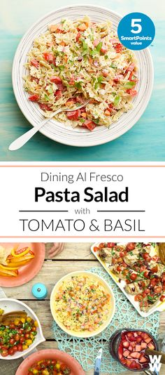 Pasta Salad with Tomato & Basil: 5 SmartPoints | Guests will rave over this side at your backyard bash.