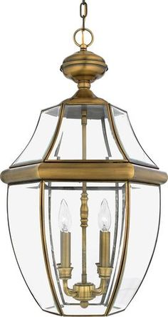 Quoizel Newbury 4 Light Wide Outdoor Pendant Lantern with Clear Glass Antique Brass Outdoor Lighting Pendants Brass Outdoor Lighting, Outdoor Hanging Lanterns, Outdoor Light Fixtures, Outdoor Wall Lantern, Outdoor Decor, Pendant Chandelier, Lantern Pendant, Antique Chandelier, Chandelier Lighting
