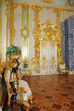 Gilded Dining Room, Catherine Palace (Tzarskoje Selo) Pushkin, Russia