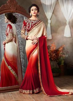 Dark Cream & Maroon Jacquard Sarees Online ,Indian Dresses - 1
