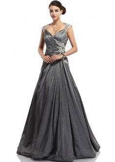 V-Neck A-Line Gray Taffeta Ruched Evening Dress Oedd0071