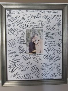 Have people sign pre-cut matte paper and after your wedding insert either an engagement or wedding photo.