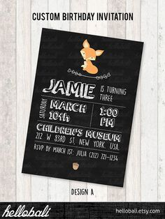 Custom Birthday Invitation baby shower blackboard by HelloBali