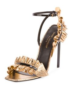Ruffled+Snakeskin+110mm+Sandal,+Black/Gold+by+Saint+Laurent+at+Neiman+Marcus.