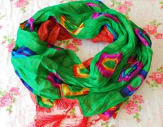 SALE  Green Scarf Colorful Scarf Oriental Style by PinkkisShop
