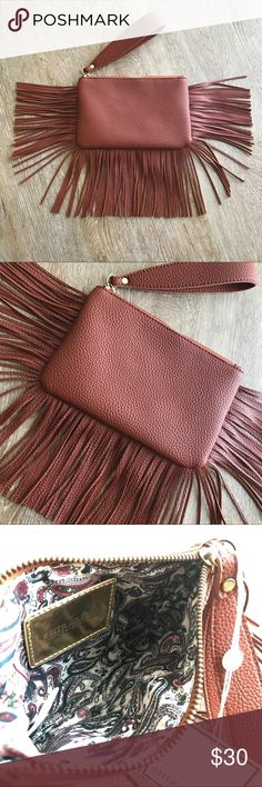 "NWT Vegan (Faux) Leather Fringe Wristlet Purse Bag Small wristlet for holing your cards, phone and cash. Very soft pebbled faux leather. Shiraleah makes the best high quality faux leather. Their products never feel cheap and will fool many into thinking it's the real thing. Also, how beautiful is this sienna brown color?? Measures 5"" in height and 8"" in length. Shiraleah Bags Clutches & Wristlets"