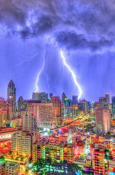 Bangkok during a Lightning Storm