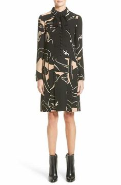 Valentino Panther Print Tie Neck Silk Cady Dress
