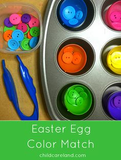 Egg Color Match for math and fine motor skills. around the world preschool theme Easter Egg Color Match Easter Activities, Spring Activities, Color Activities, Classroom Activities, Preschool Activities, Preschool Colors, Montessori Preschool, Physical Activities, April Preschool