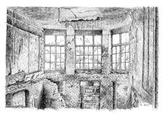 Interior ruin - France. Black ink drawing by Nicolas Jolly. #drawing #ink #blackandwhite #art #village