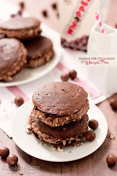 Chocolate Malt Whoopie Pies with Malted Milk Chocolate Filling