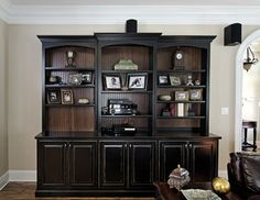 Black Painted Bookcase with beadboard interior - traditional - living room - by Kirkland Custom Cabinets Inc