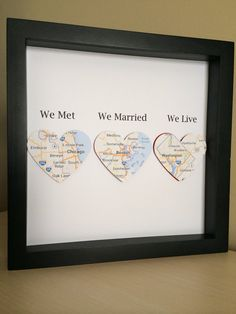 Personalized Anniversary or Wedding Gift, 3D Paper Location Heart, for wedding…