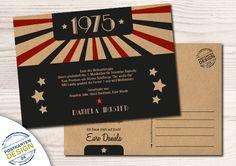 Einladung zum Geburtstag // Wurzelholzkarton von postkartendesign24 auf DaWanda.com