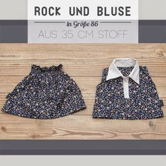 Rock & Bluse in Größe 86 mit wiederverwertetem Kragen / Skirt and blouse with re-used collar / Upcycling (partly anyway)