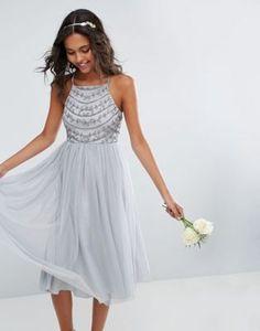 ASOS WEDDING – Mit feinen Perlen geschmücktes Midikleid mit rückseitigen Trägern