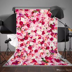 8x10ft Watercolor Oil Painting Backdrop Colorful Flowers Bridal Wedding Valentines Day Birthday Party Photo White Wood Floor Background Wallpaper Floral Decorations Photography Portraits
