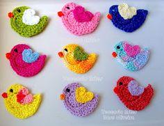 Crochet bird appliqué - picture only