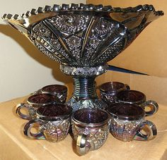 Indiana Amethyst Carnival Glass Herloom Series Punch Bowl Pedestal 8 Cup Set | eBay Cut Glass, Glass Art, Liquor Glasses, Vintage Dishes, Vintage Items, Black Amethyst, Punch Bowl Set, Antique Glassware, Rose Tea