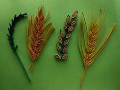 How to make Quilling Wheat Grain.Leaf Stem using Comb