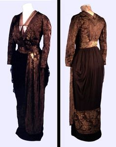 Brown silk brocade afternoon or evening dress with silk chiffon and lace collar, by Jays Ltd. of London, English, c. 1911. The layered skirt consists of a narrow tube of satin with a chiffon over-skirt edged with a band of brocade which sweeps diagonally across the front. The chiffon is pleated to emphasise widthh at the hips while a separate pleated panel stresses the vertical line.