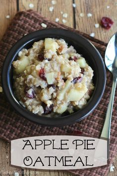 Apple pie flavor ... in a delicious, healthy oatmeal recipe! This Apple Pie Oatmeal is so quick and easy - a true family favorite! ~ www.TwoHealthyKitchens.com