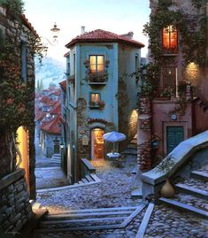[ a little dreamy town ] Beautiful Buildings, Beautiful Landscapes, Wonderful Places, Beautiful Places, The Places Youll Go, Places To Visit, Photos Voyages, Travel Aesthetic, Dream Vacations