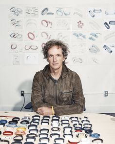 Yves Behar with prototypes of the fitness tracker, is Jawbone's chief creative officer, but he also works with clients such as Herman Miller and Samsung. 16 Year Old, Light Art, Fitness Tracker, Light Photography, Cinematography, Art Direction, Photo Wall, It Cast, Design Inspiration