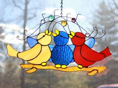 Cheerful Trio Songbird Suncatcher by BeardedVikingGlass on Etsy