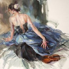 Emphasis 1 by Anna Razumovskaya. Art and Frames Gallery, Coronado CA. Violin Painting, Ballet Painting, Ballet Art, Woman Painting, Figure Painting, Painting & Drawing, Art Triste, Anna Razumovskaya, Romance Art
