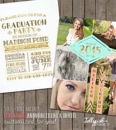 2015 Tribal Senior Graduation Announcement &  Graduation Party Invitation for Girls.Customized for you! Gold, Peach, Mint, Teal ,Coral. by JellyfishPrintables on Etsy https://www.etsy.com/listing/230178382/2015-tribal-senior-graduation