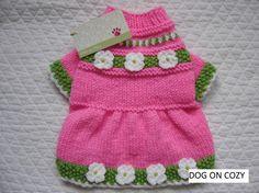 Flared Skirt Dog Sweater Hand Knit Pet Sweater Dress Size