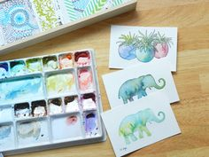 Original Watercolor Elephant and Cactus Paintings by Elise Engh: Grow Creative