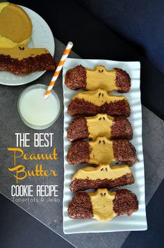 THE best basic Peanut Butter Cookie Recipe! Halloween Peanut Butter Bat Cookies -- Tatertots and Jello #DIY #Halloween