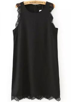 Black Sleeveless Lace Trims Slim Dress
