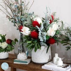 Touches of colour surrounded by white blooms and greenery are a stylish finishing touch for any living space! #artificialflowers #fakeflowers #imitationflowers #flowers #diyhomedecor #homedecor #diy #homestyle #homestyling #artificialflowerarranging #artificialflowerarrangement #flowerdecor Christmas Flower Arrangements, Artificial Flower Arrangements, Artificial Flowers, Succulent Pots, Planting Succulents, Flower Decorations, Table Decorations, Australian Christmas, White Vases