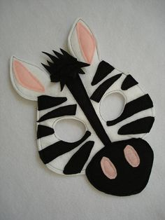 Children's ZEBRA Felt Animal Mask by magicalattic on Etsy, $12.50