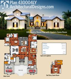 Architectural Designs Hill Country House Plan has a courtyard entry and an upstairs game room. Over 4,000 sq. ft. of heated living space. Ready when you are. Where do YOU want to build?